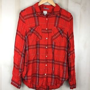 Tops - Flannel Button Down Shirt Fall Size M